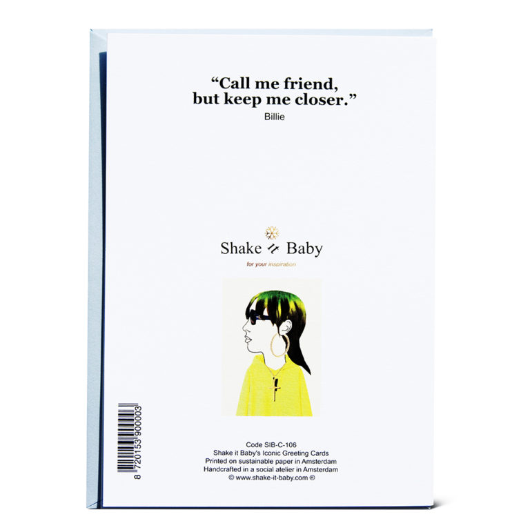 Shake it Baby greeting card Billie backside