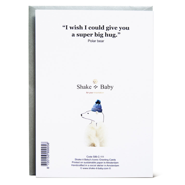 Shake it Baby greeting card Hugging Bear backside