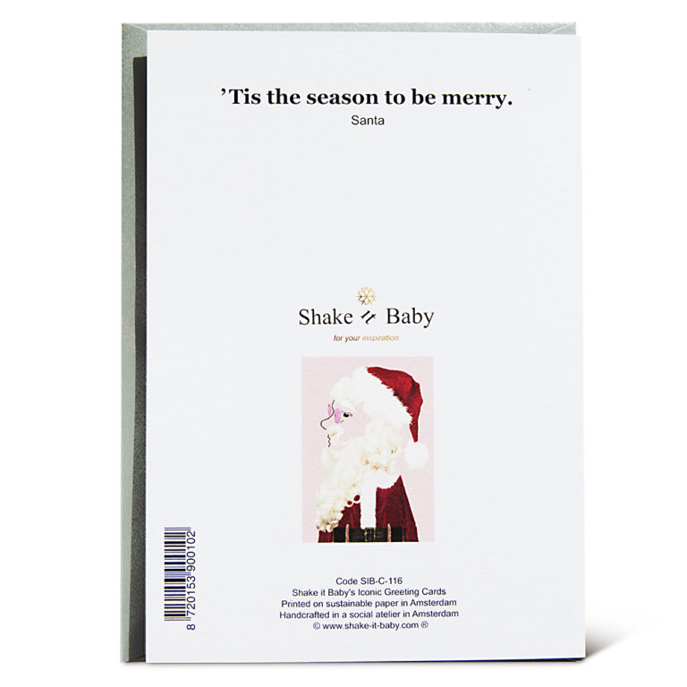 Shake it Baby greeting card Santa backside